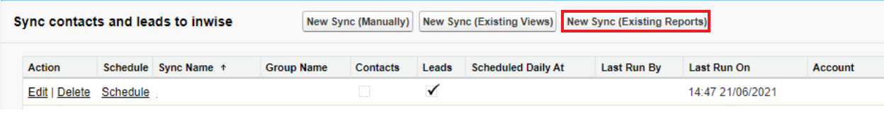 inwise app for salesforce - report sync - 1