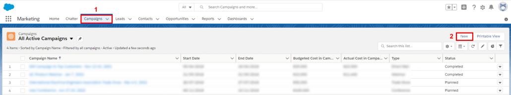 Create new Salesforce campaign