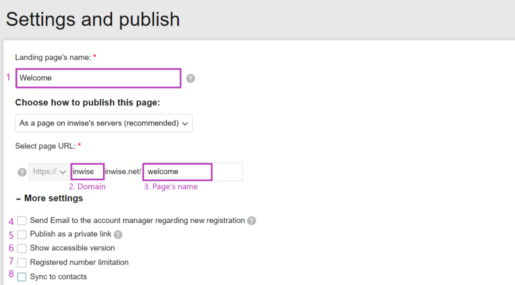 Landing pages setting