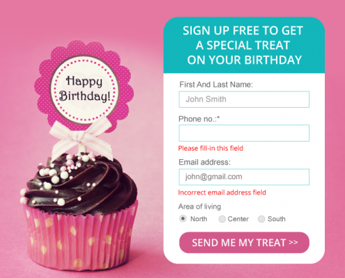 Sign up form for birthday present