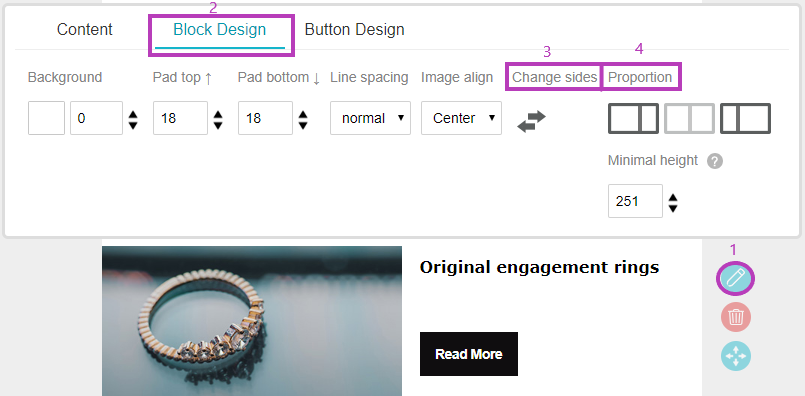Edit campaign - design block