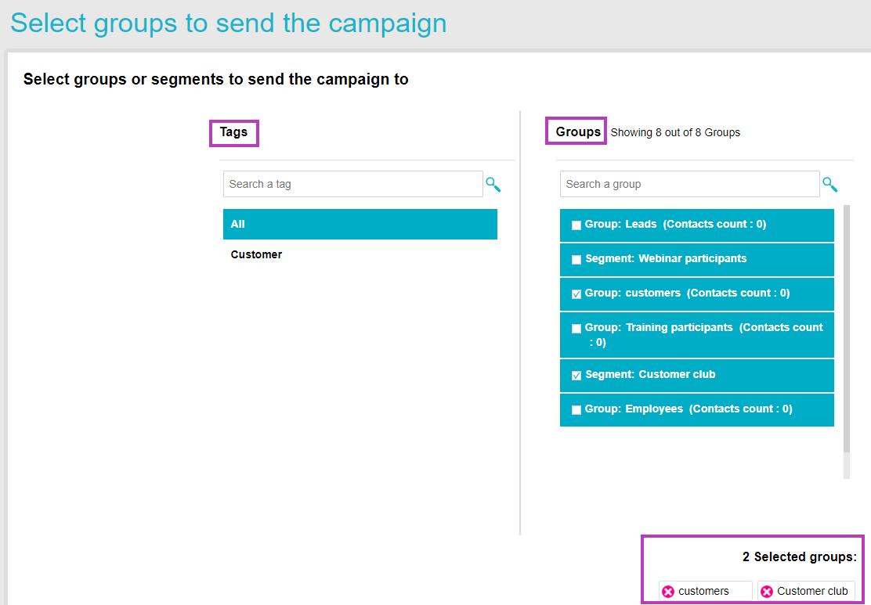 Edit campaign - groups