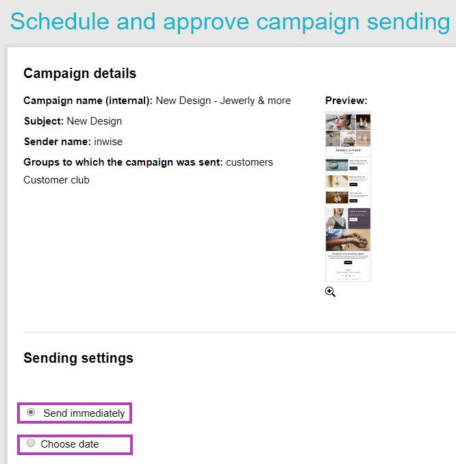 Edit campaign - schedule & sending