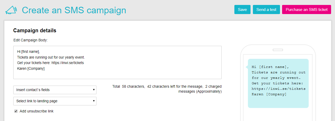 Feature - Create SMS campaign