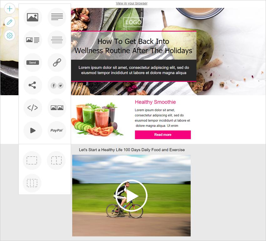 Newsletter design editor