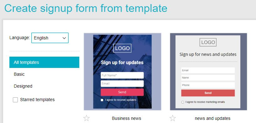 templates Signup form