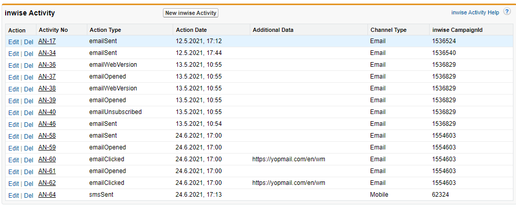 inwise app for Salesforce - activity 4